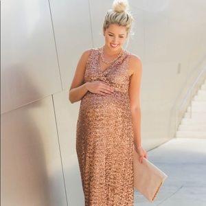 Gold sequin maternity maxi bridesmaid  dress Small